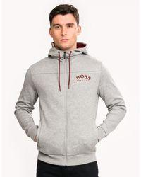 BOSS Athleisure Athleisure Zip Through Hooded Logo Sweatshirt - Gray