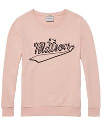 Maison Scotch Crew Neck Graphic Sweat - Pink