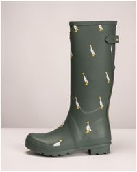 Joules With Adjustable Back Gusset Welly Print - Green