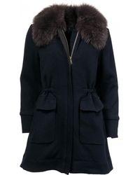 Woolrich Wool Cotton Track Coat - Blue