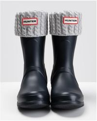 HUNTER Recycled Mini Cable Tall Boot Sock - Grey