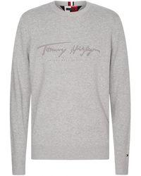 Tommy Hilfiger Tonal Autograph Swea Jumper - Grey
