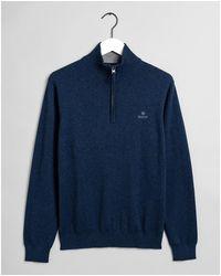 GANT Classic Cotton Half Zip Sweatshirt - Blue