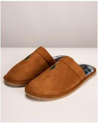 Ralph Lauren Klarence Snuff Microsuede Slippers - Brown