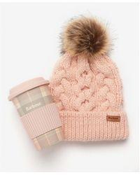 Barbour Tartan Travel Mug / Beanie - Pink