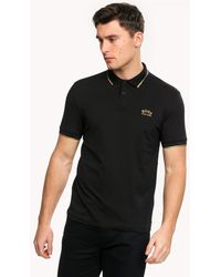 BOSS Athleisure Paul Curved Logo Slim Fit Mens Polo Shirt - Black