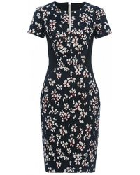 French Connection Eva Cotton Short Sleeve Womens Dress - Blue