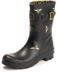 Joules Womens Mid Height Printed Welly A/w - Black