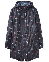 Joules Golightly Womens Printed Waterproof Packaway Jacket A/w - Blue