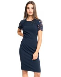 French Connection Whisper Ruth Ss Round Neck Bodycon - Black