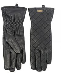 Barbour Quilted Ladies Leather Gauntlet - Black