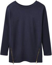 Joules Milton Side Zip Ribbed Sweatshirt - Blue