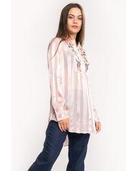 French Connection Katalina Stripe Ls Collarless Shirt - Pink