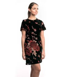 French Connection Wilma Devore Ss Dress - Black