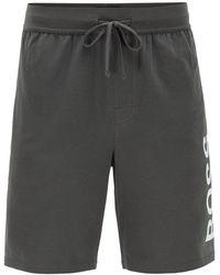 BOSS by HUGO BOSS Pyjama Stretch Cotton Printed Logo Identity Shorts - Black