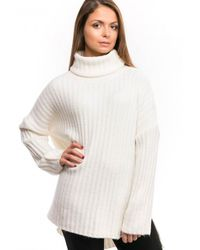 French Connection Riva Rib Knit Ls High Neck Jumper - White