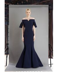 Janique 1941 Notched Off Shoulder Ruffle Sleeve Evening Gown - Blue