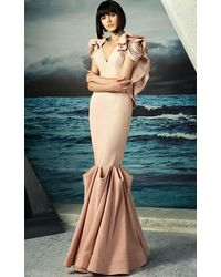 Mnm Couture Rosette Accented V-neck Mermaid Gown G0808 - Pink