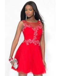 Alyce Paris - Short Dress In Red Silver - Lyst