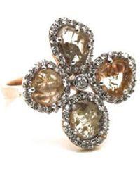 Trésor - Organic Diamond Flower Ring With White Diamond Pave Frame Set In K Rose Gold - Lyst