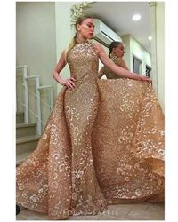 Mnm Couture 2416 Sleeveless Sequin Ornate Overlay Train Evening Gown - Brown