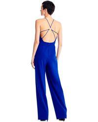 Aidan Mattox Mn1e204084 Deep V-neck Jumpsuit With Cutouts - Blue
