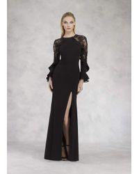 Janique K6606 Lace Long Sleeve Ruffled Sheath Dress - Black