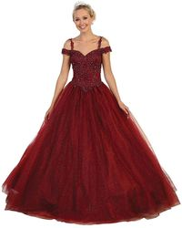 May Queen Beaded Lace Sweetheart Quinceanera Ballgown - Red