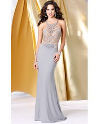 Shail K - Halter Long Gown With Crystal Details - Lyst