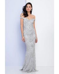 Terani Couture Bejeweled Illusion Mermaid Gown 1721gl4445 - Metallic