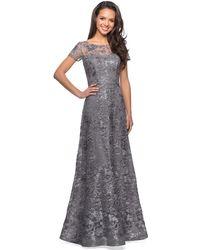 La Femme Floral Adorned Illusion Bateau Long Gown 27839sc - Gray