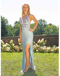 d088430fd7e Primavera Couture - 3216 Beaded And Sequin Embellished Evening Gown - Lyst