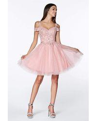Cinderella Divine Cd0132 Cold Shoulder Lace And Glitter Tulle Cocktail Dress - Pink