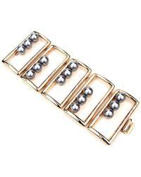 Ben-Amun - Golden Box Bracelet With Black Pearls - Lyst
