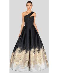 Terani Couture 1912e9180 Two Tone Asymmetric Pleated Ballgown - Black