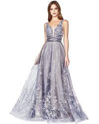 Cinderella Divine - Cd75 Lace Applique Deep V-neck A-line Dress - Lyst
