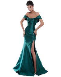 Tarik Ediz 50448 Pleated Off-shoulder Mermaid Dress - Green
