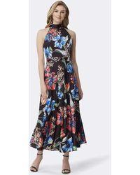Tahari Tlmu9wd624 Floral Print High Halter A-line Dress - Blue