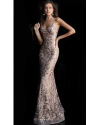 Jovani Sequined Floral V-neck Evening Gown 63739 - 2 Pcs Nude In Sizes 0 And 2 Available - Black