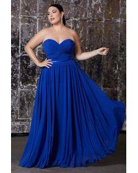 Cinderella Divine - 7455 Sweetheart Neckline Chiffon A-line Dress - Lyst