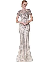 Cinderella Divine Ck865 Illusion Short Sleeve Art Deco Lace Gown - Metallic