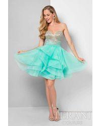 Terani - Ombre Beaded Bodice Lace Back Short Prom Dress P - Lyst