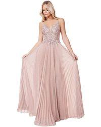 Cinderella Divine - Cd0163 Lace Applique Deep V-neck A-line Gown - Lyst
