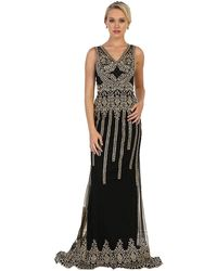 May Queen Sleeveless V-neck Embellished Sheath Evening Gown - Black