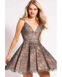 a7553314 Lyst - Jovani Long Sleeve Embellished Velvet High Neck Dress 52184 ...