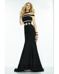 Alyce Paris - Claudine - Long Dress In Black Gold - Lyst
