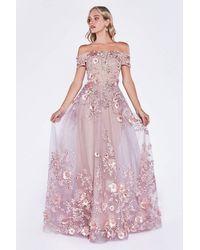 Cinderella Divine - 7051 Floral Applique Off-shoulder Dress - Lyst