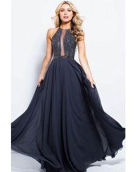 Jovani - Jvn59049 Embellished Illusion Halter Chiffon A-line Dress - Lyst