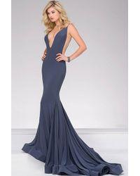 Jovani V-neck Long Jersey Dress In Gunmetal 46756 - Purple