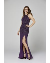 Primavera Couture 3409 Beaded Halter Gown With Slit - Purple